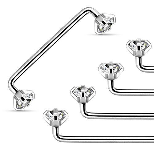 14g Prong CZ Surface Barbell (internal threads)