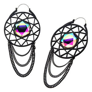 CZ Web & Chain Tunnel Hoop Earrings