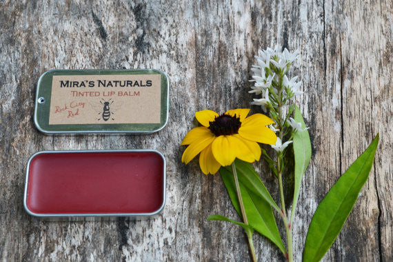 Mira's Naturals Rock City Red Retro Slide Lip Balm Tin