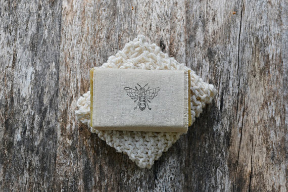 Bath Gift Set - Mira's Naturals Beeswax & Raw Honey Soap and Hand-knit Natural Cotton Washcloth