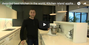 Awarded best kitchen in the world, Kitchen island appliance garage using Column lift
