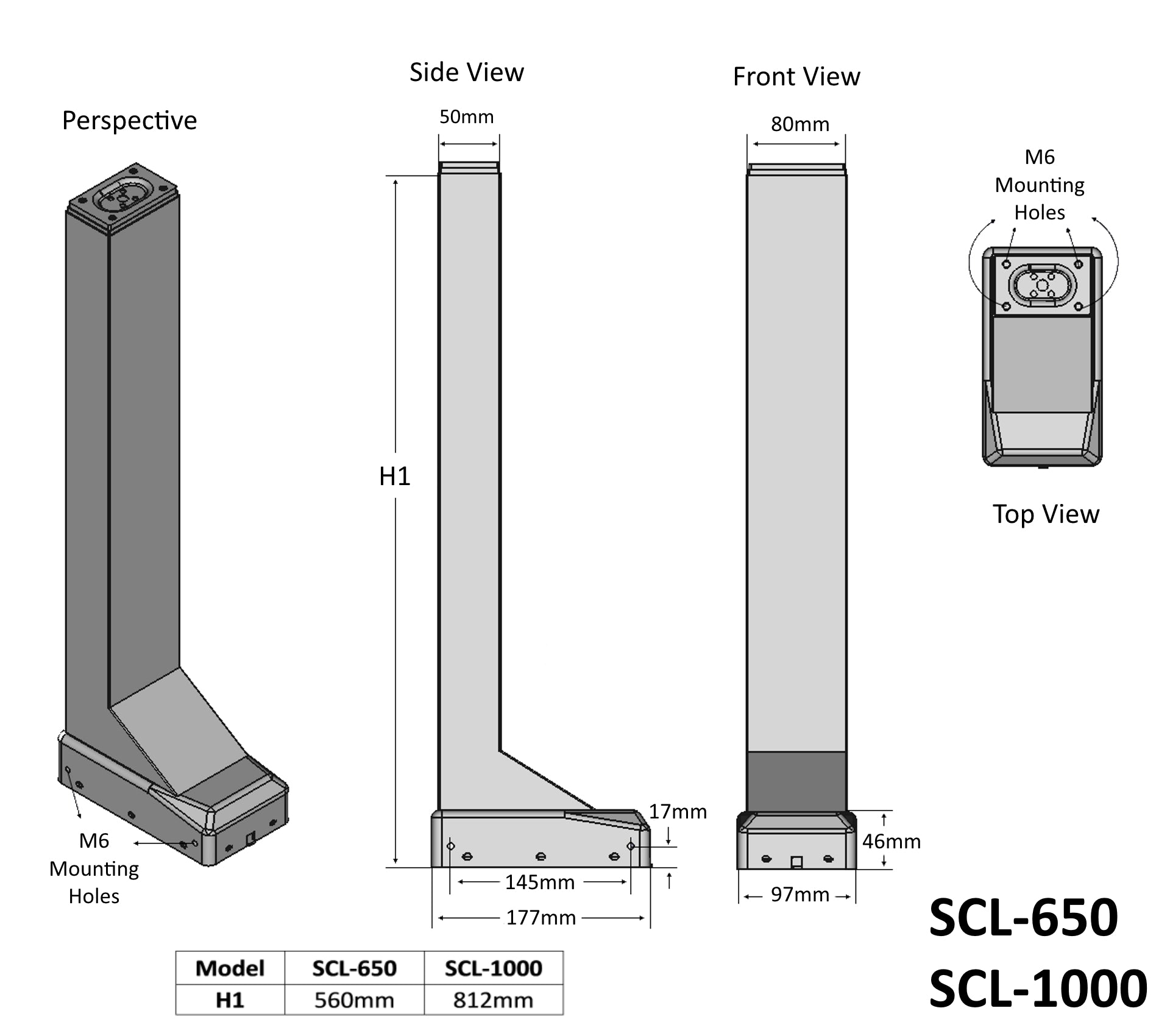Electric Column Lift Technical Drawing