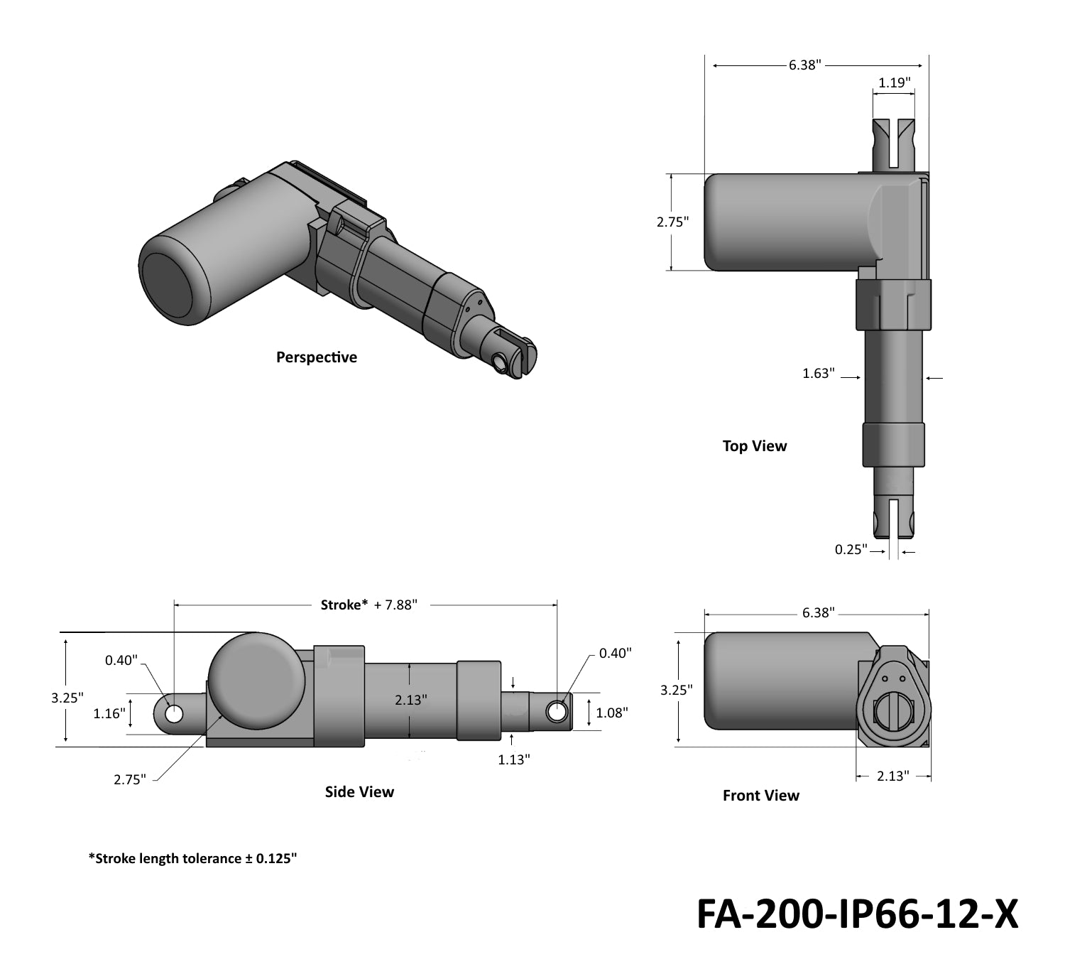 Heavy Duty Rod Actuator - IP66 Rated, Technical Drawing
