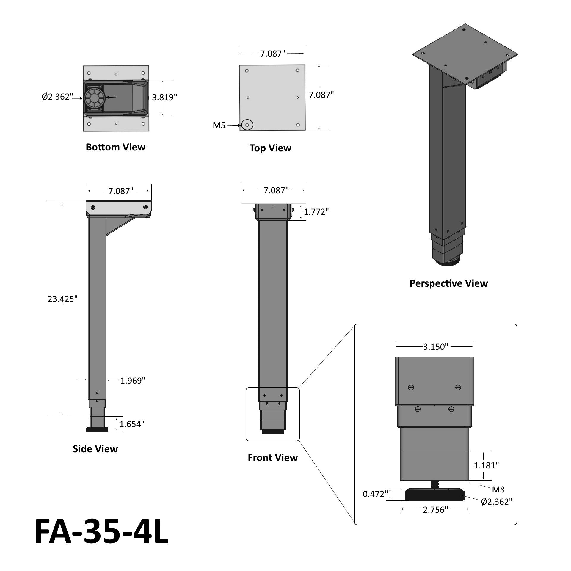 Four Leg Desk Lift Technical Drawing