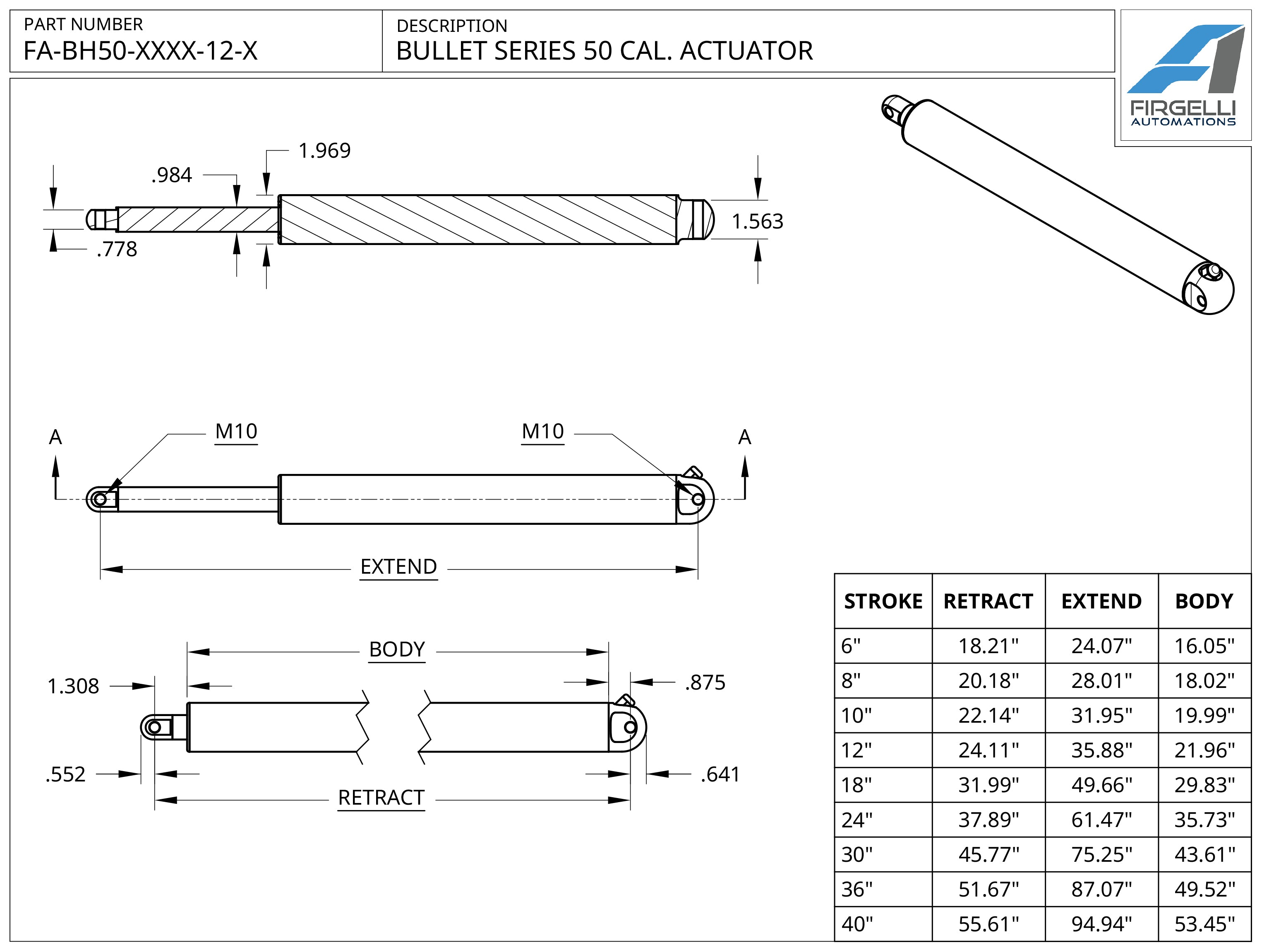 Bullet 50 Cal. Technical Drawing