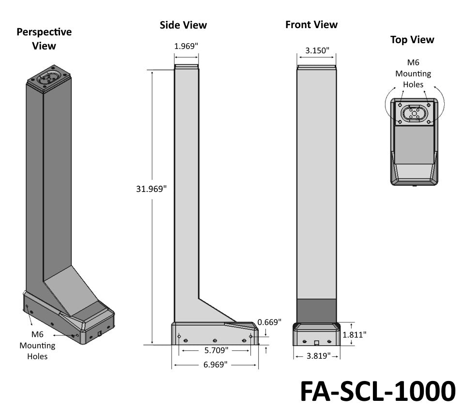 "39"" Electric Column Lift (FA-SCL-1000) Technical Drawing"