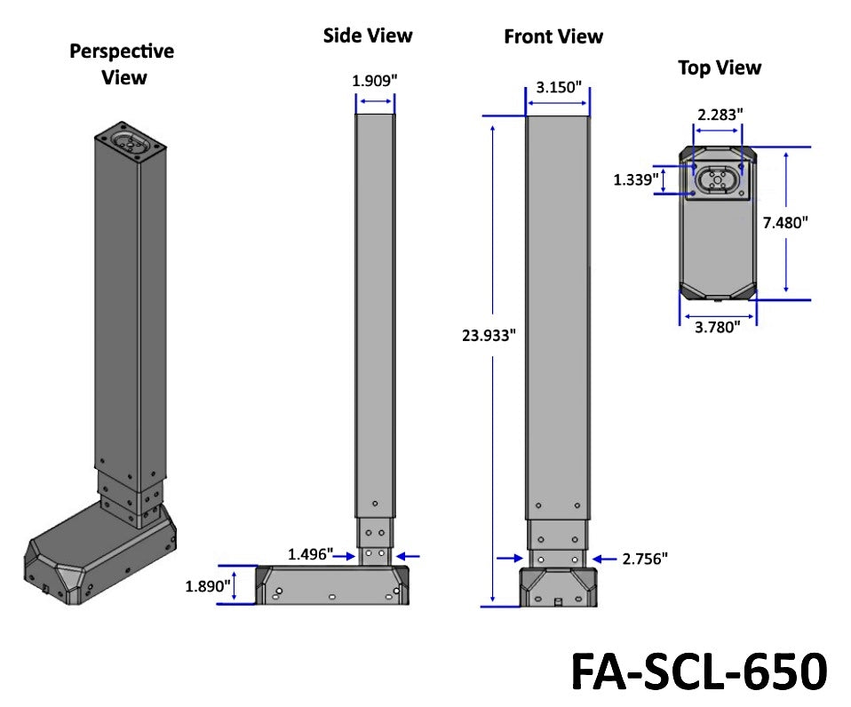 "25"" Electric Column Lift (FA-SCL-650) Technical Drawing"
