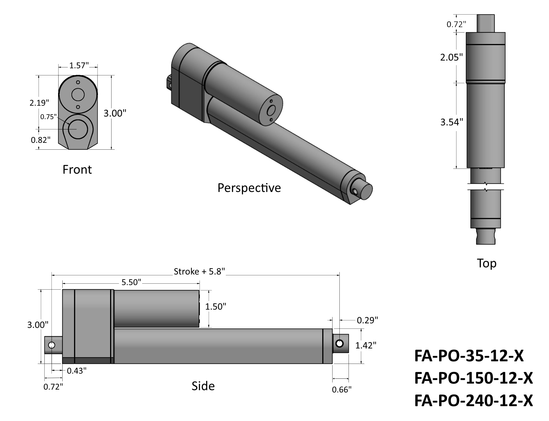 Feedback Rod Actuator Dimensions