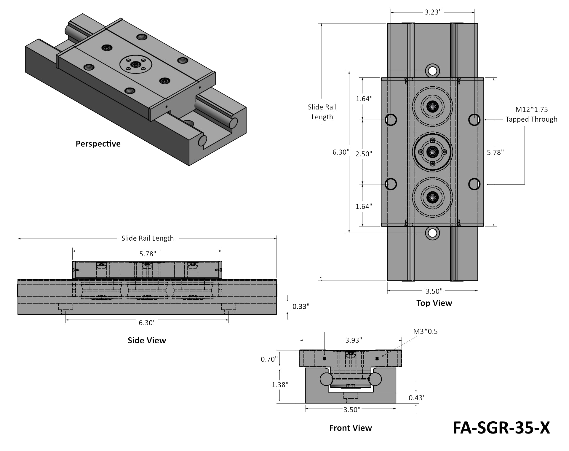 Heavy Duty Slide Rail Tech Drawing