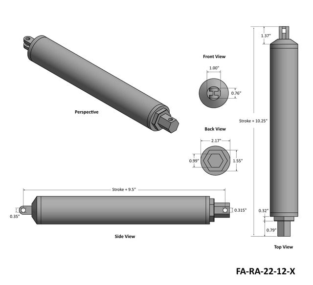High Speed Actuator Technical Drawing