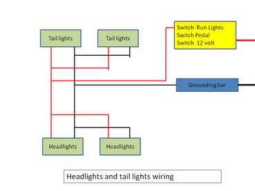 headlights wiring diagram in an  RC Power Wheels