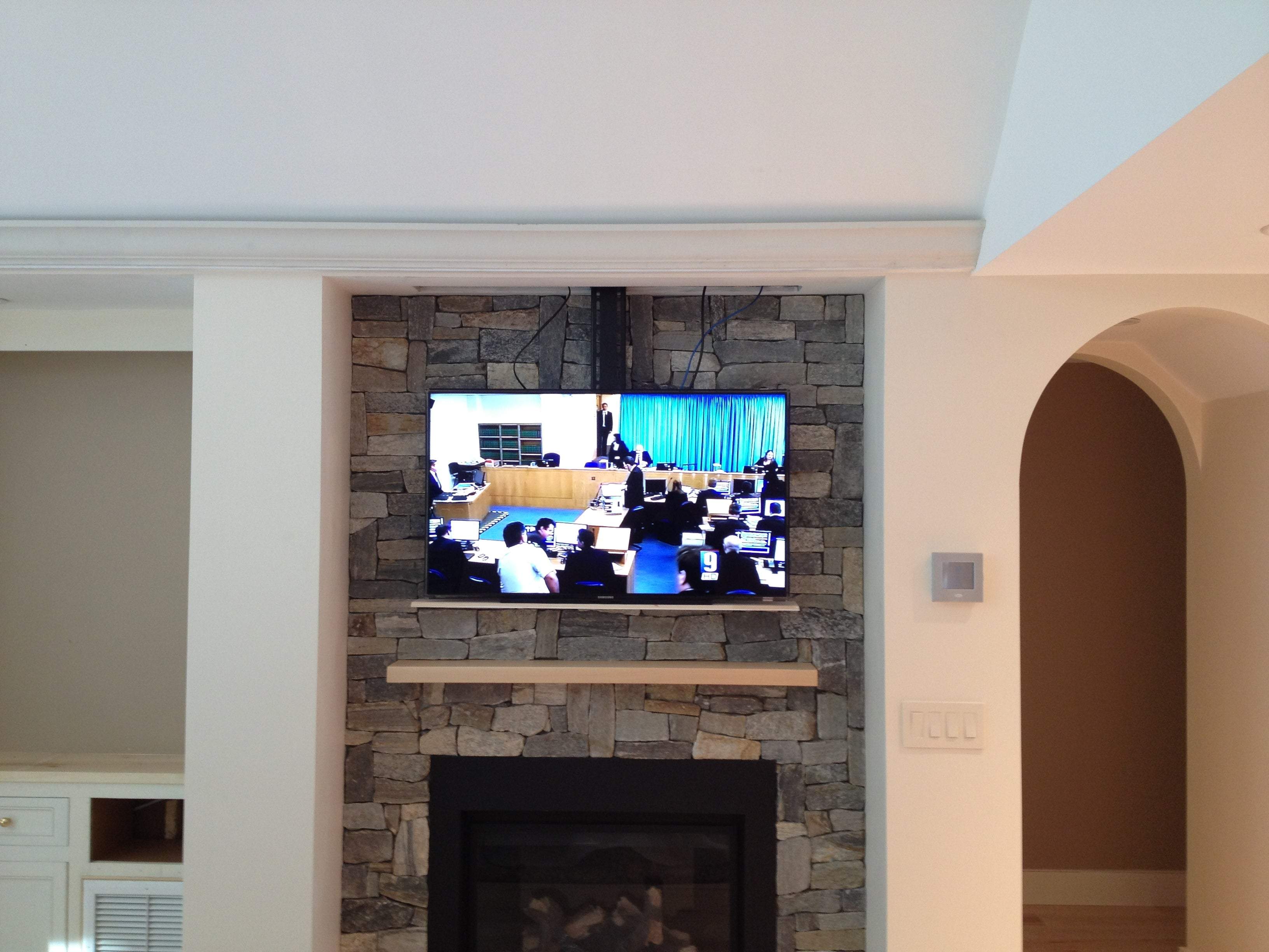Home Automation Drop Down Tv Lift Over Fireplace