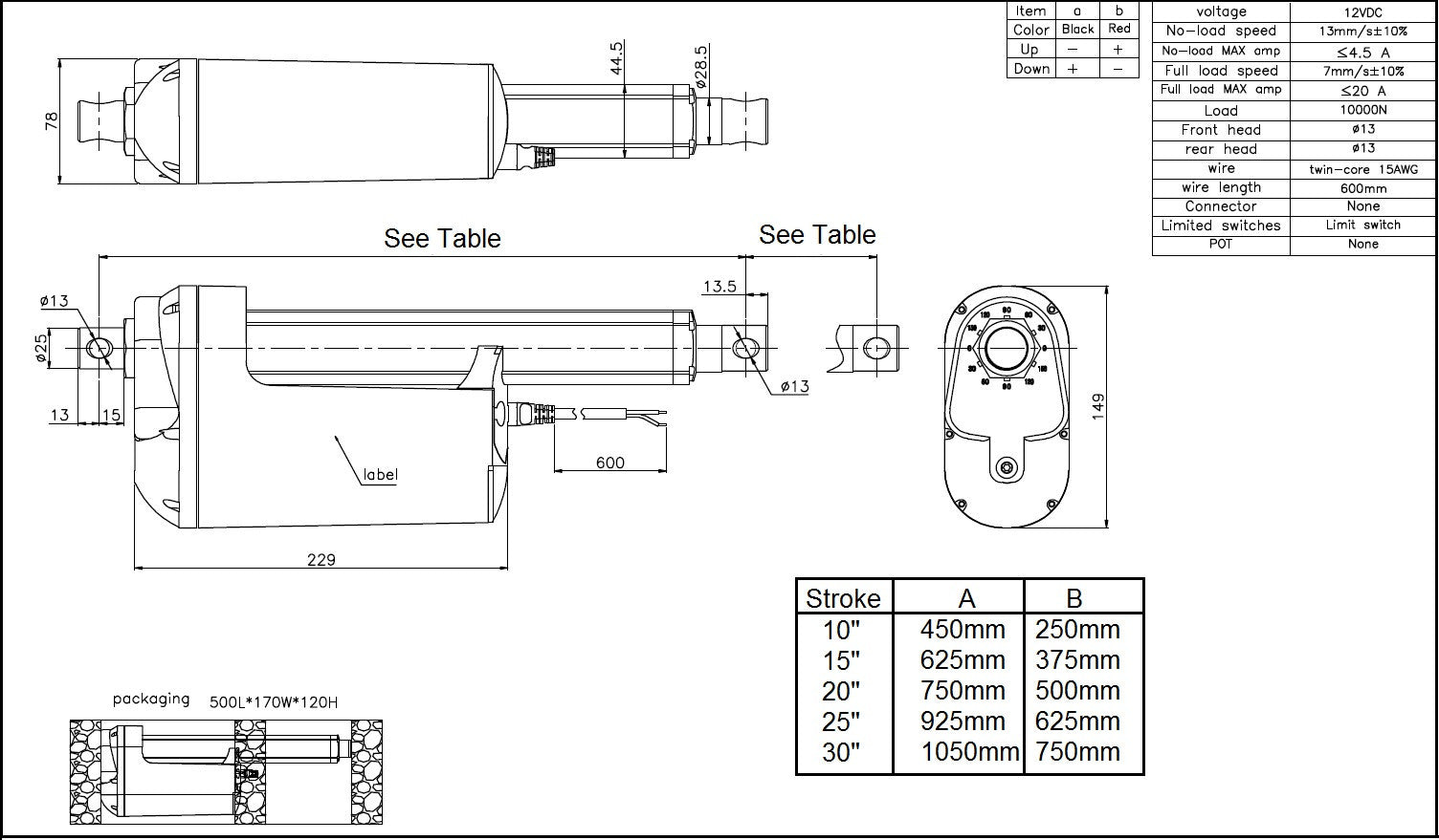 Industrial Actuator Tech Drawing