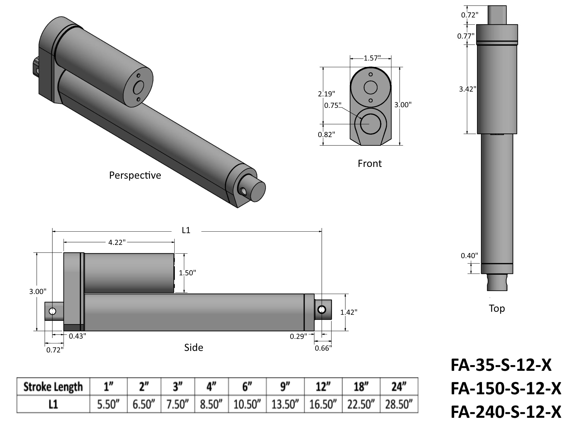 Light Duty Linear Actuator Tech Drawing