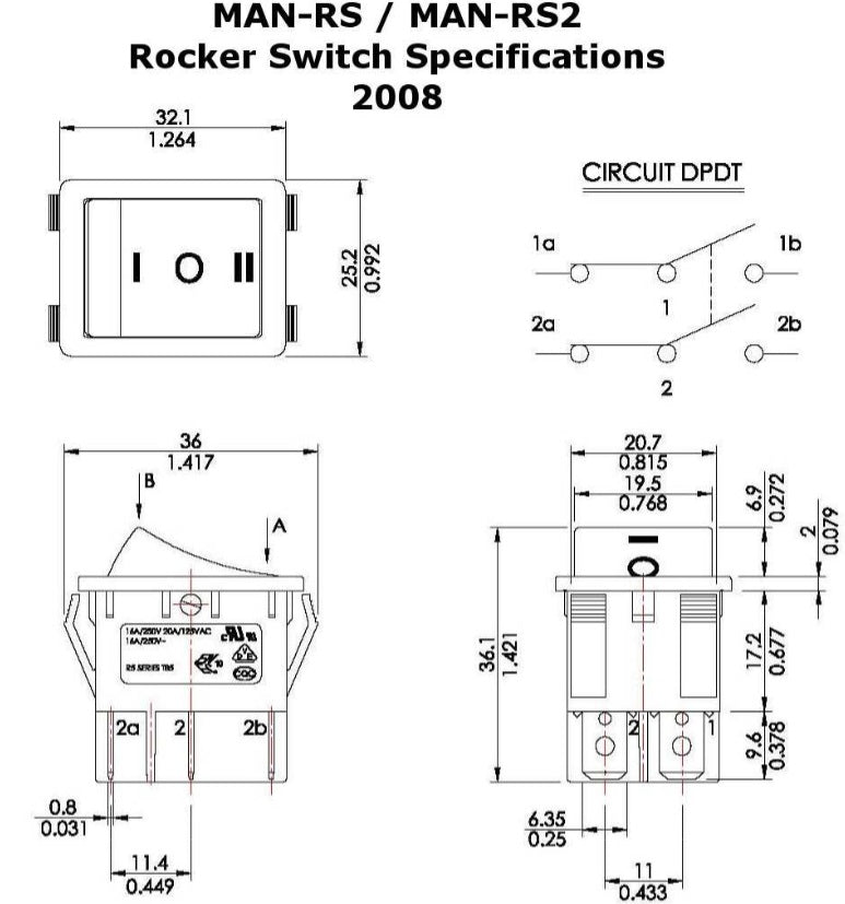 Linear Actuator wiring Diagram for a Rocker switch