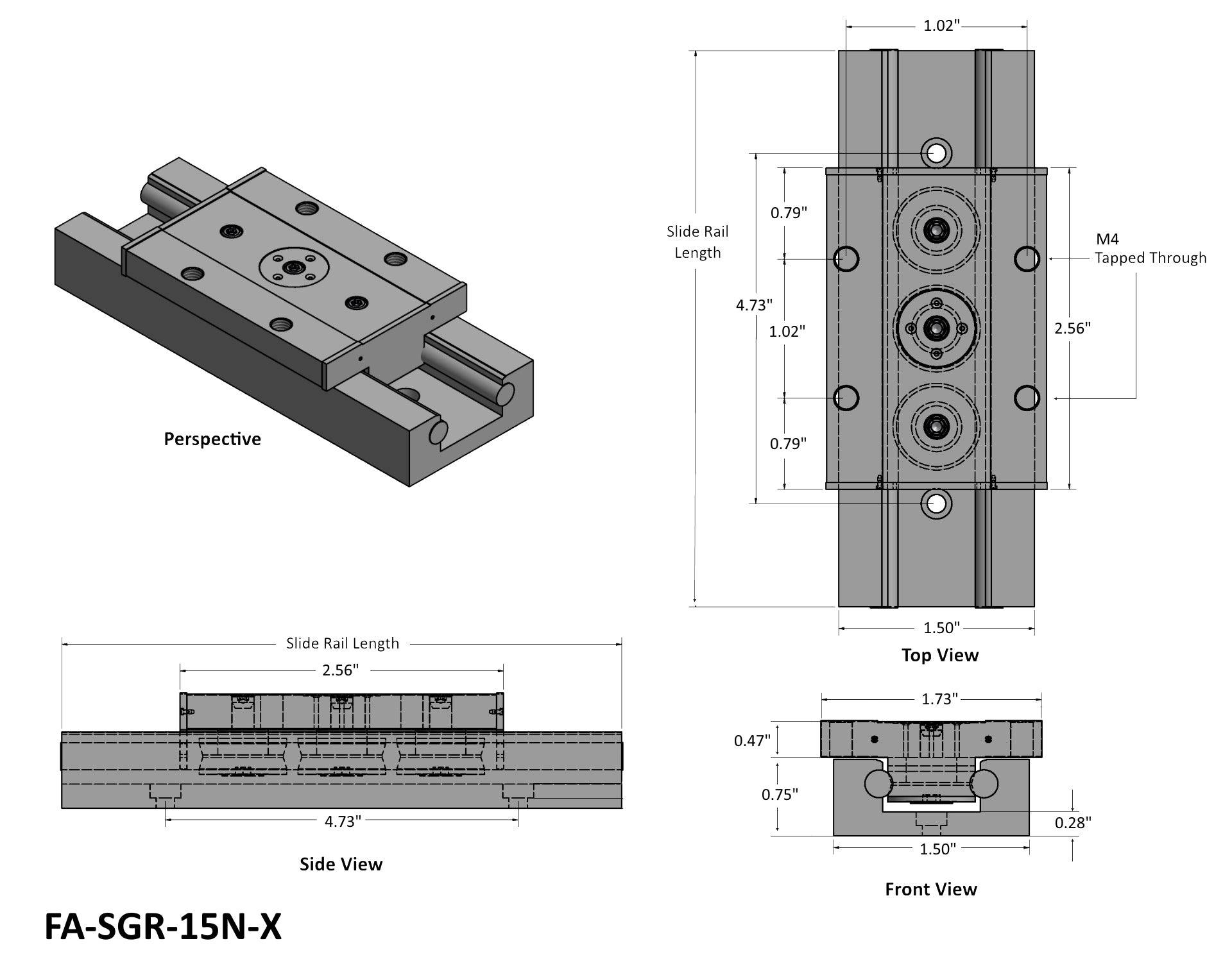 Mini Linear Bearing Slide Rail Tech Drawing