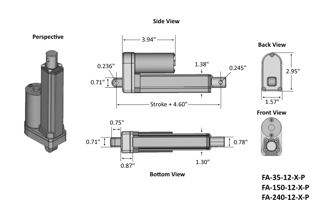 Premium Linear Actuator Tech Drawing