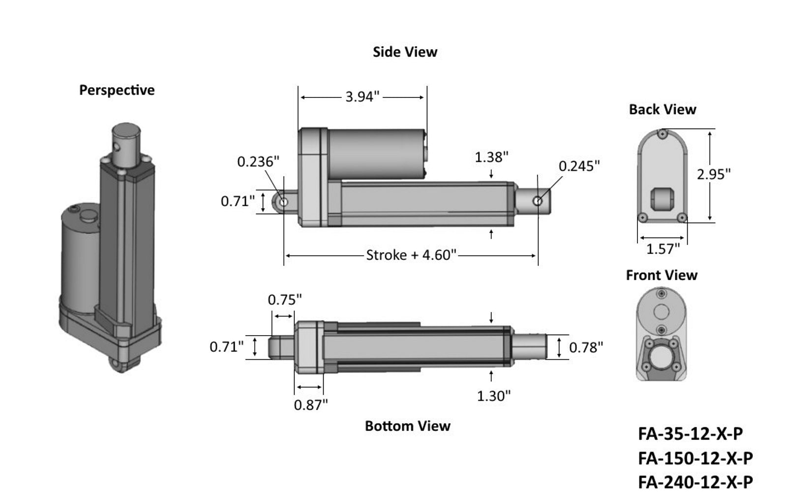 Premium Linear Actuator Technical Drawing