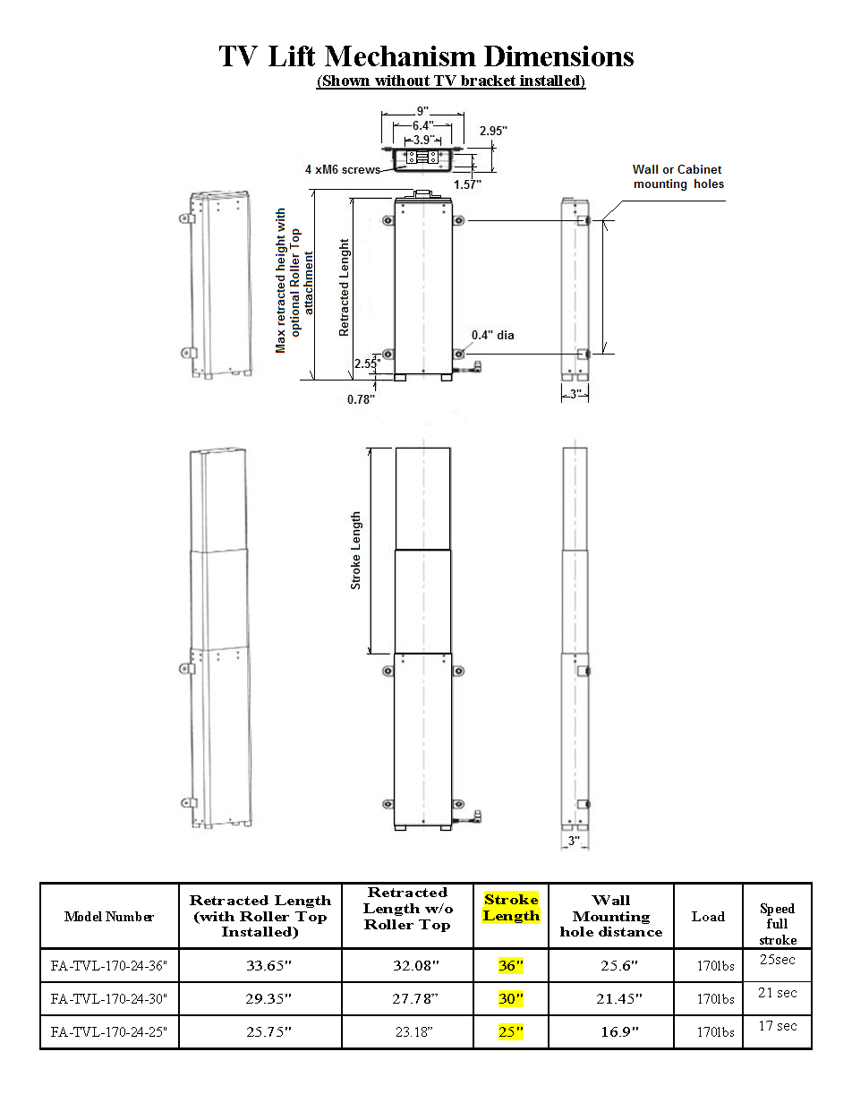TV Lift Dimensions Page 1