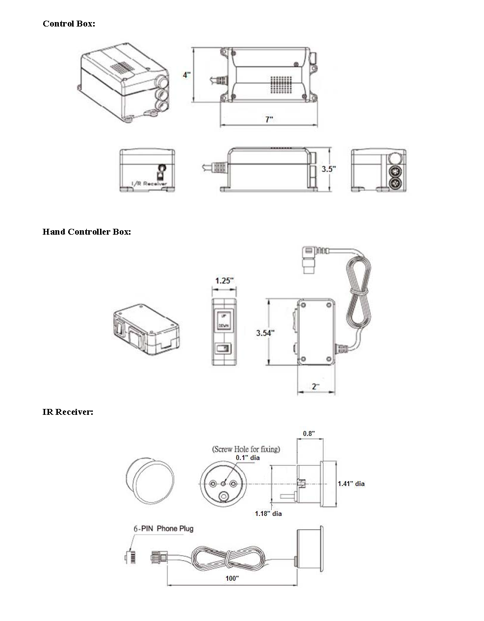 TV Lift Dimensions Page 2