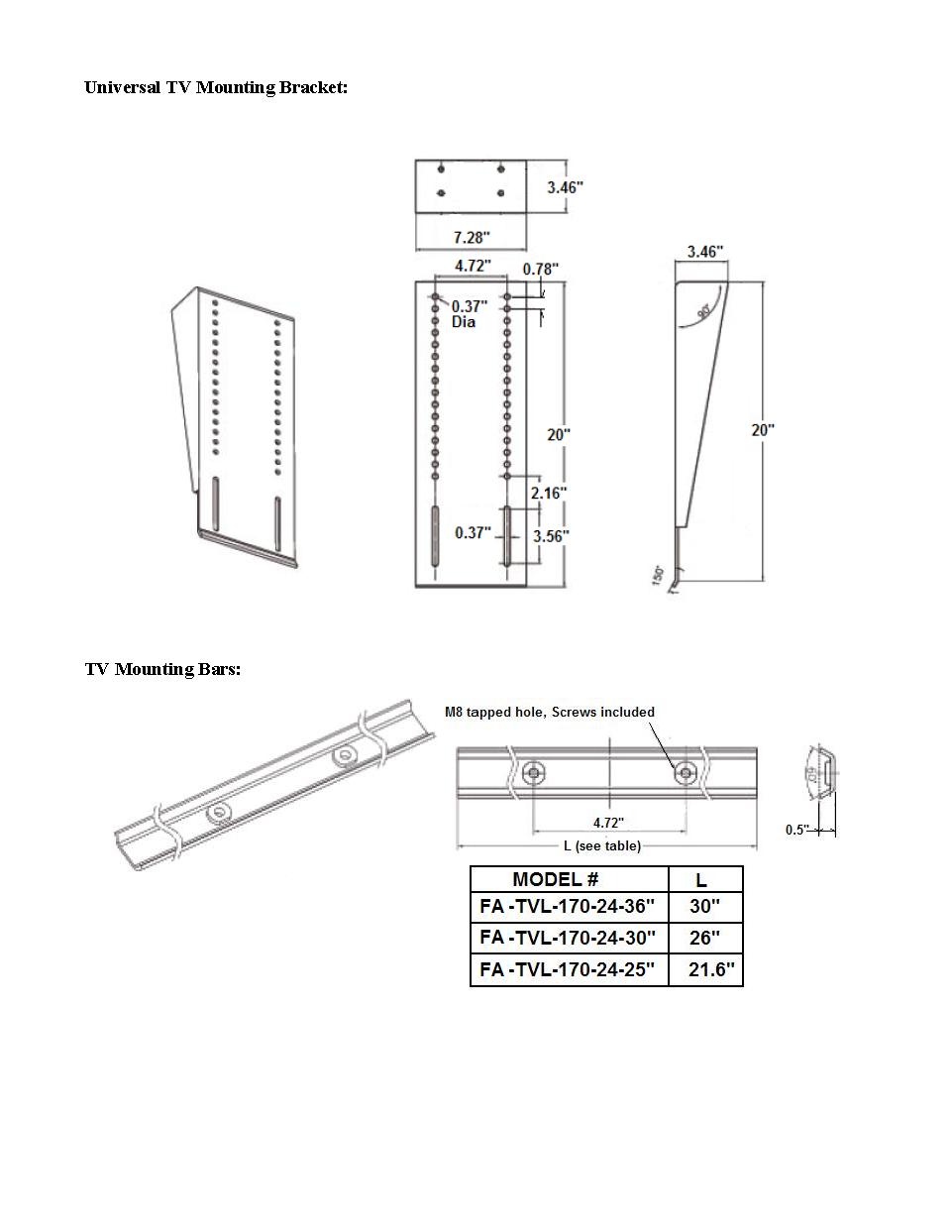 TV Lift Dimensions Page 3