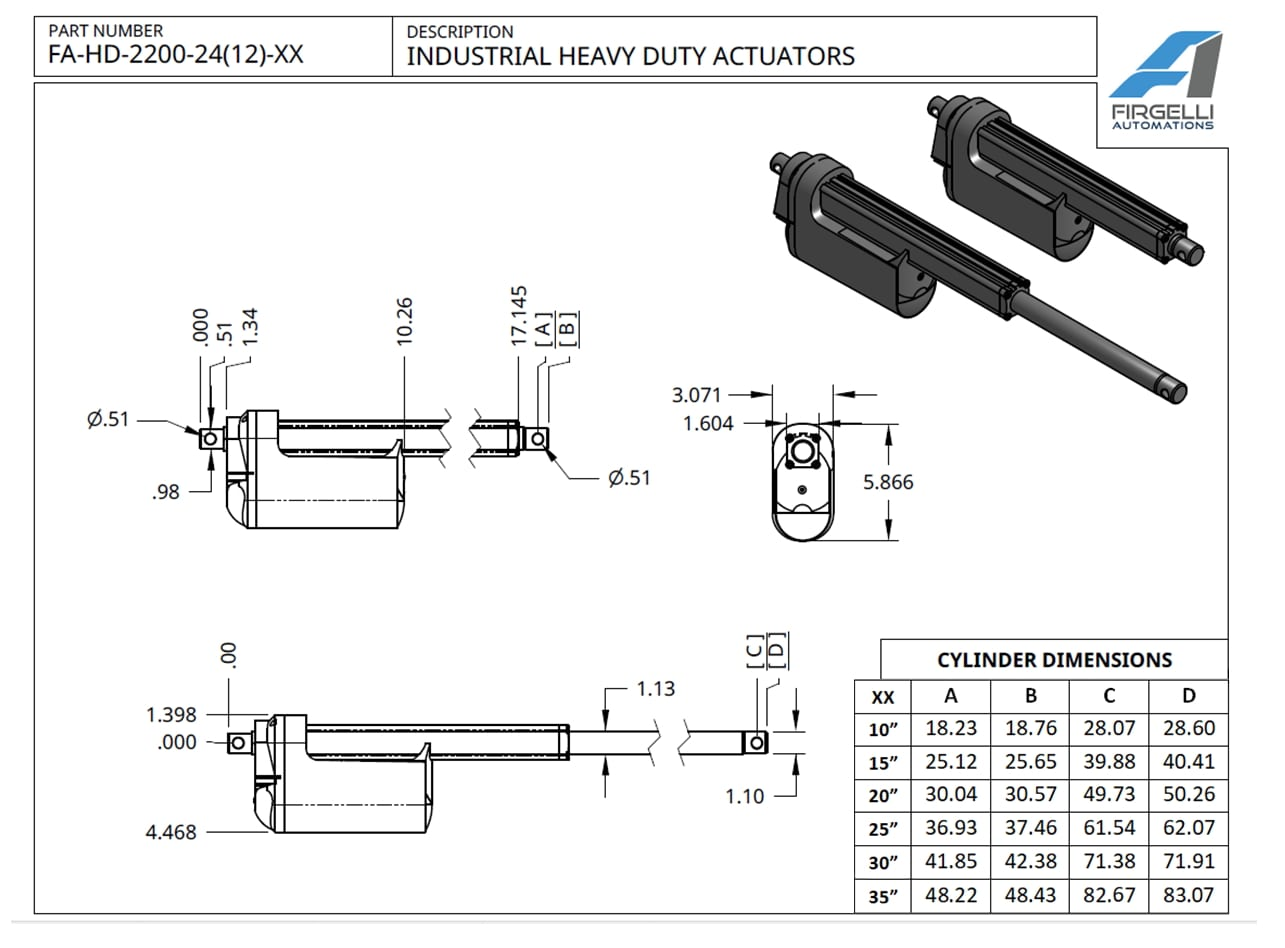 Industrial Heavy Duty Actuator Technical Drawing