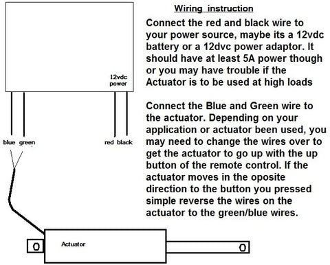 How to control a linear actuator using a 2 channel remote control