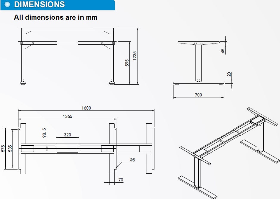 Electric adjustable table desk lift dimensions