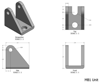 MB1 Bracket - linear actuator bracket dimensions