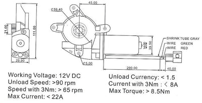 Worm Gear Motor, Rotary Actuator dimensions