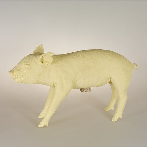 Original Production Reality Bank in the Form of a Pig, Fuzzy Yellow, Repaired Ear