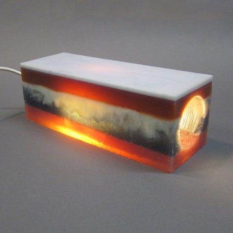 Layered Rubber Lamp in Rust and Blue