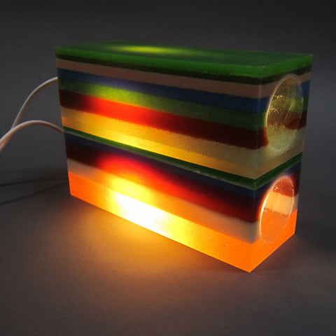 Layered Rubber Lamp Stack in Multicolor Stripes