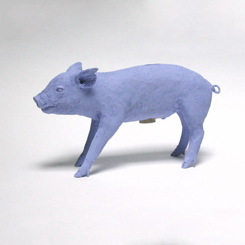 Original Production Reality Bank in the Form of a Pig, Boyish Blue, Repaired Ear