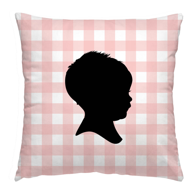 Custom Gingham Silhouette Pillow