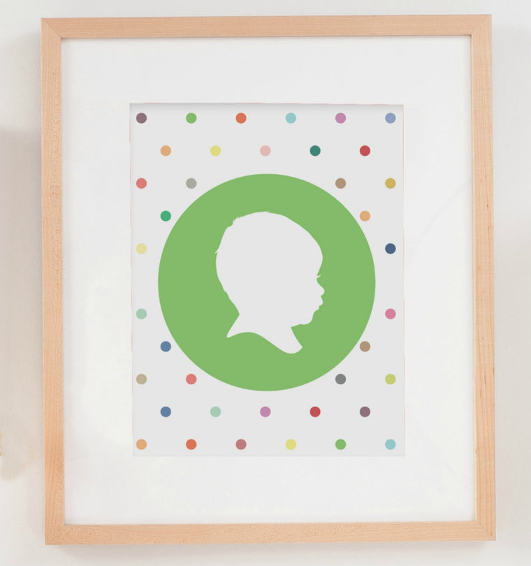 Polkadot Party Silhouette Print