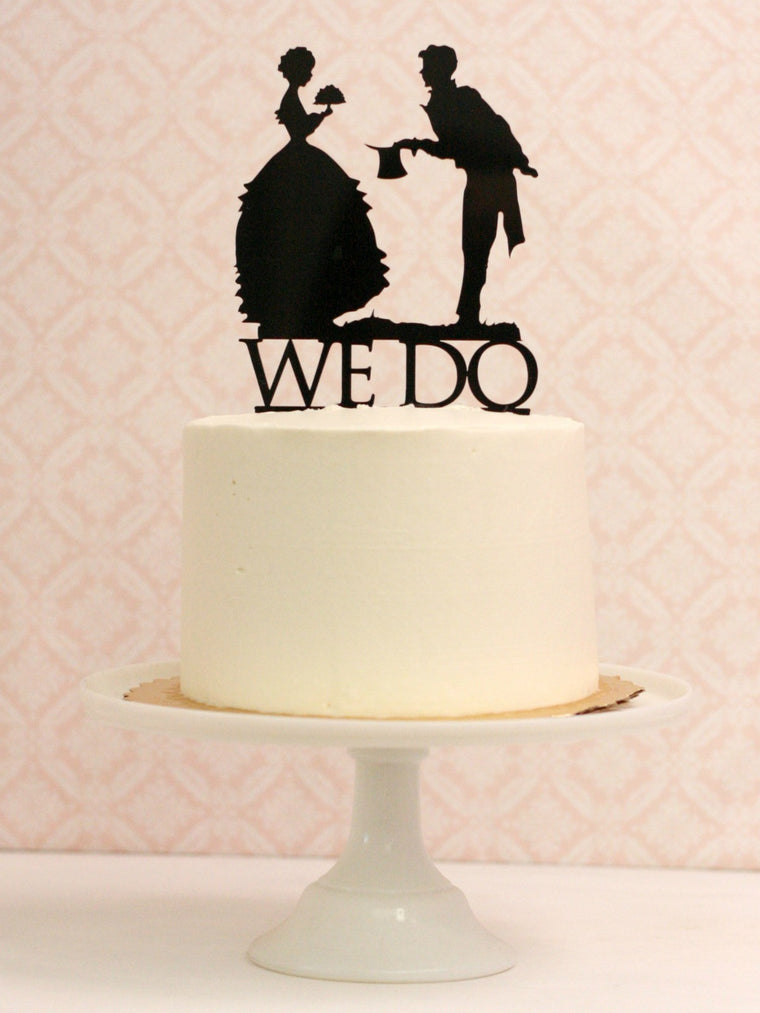 Vintage Silhouette WE DO Cake Topper