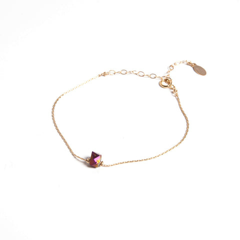 Purple Metallic Coated Herkimer Diamond - Itty Bitty Bracelet