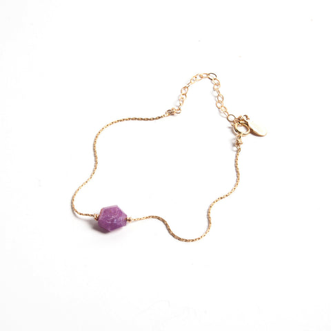 Purple Hexagon Ruby- Itty Bitty Bracelet