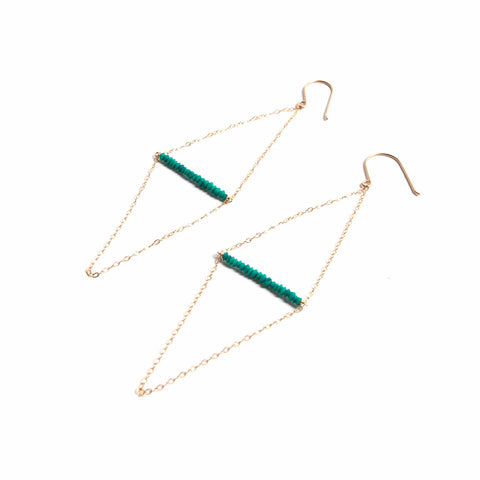 Kite Earring- Green Malachite