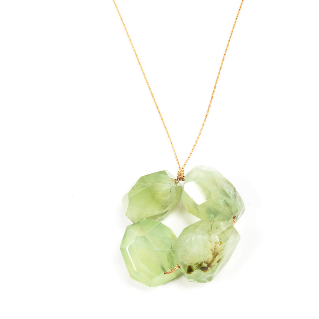 Block Necklace- Prehnite