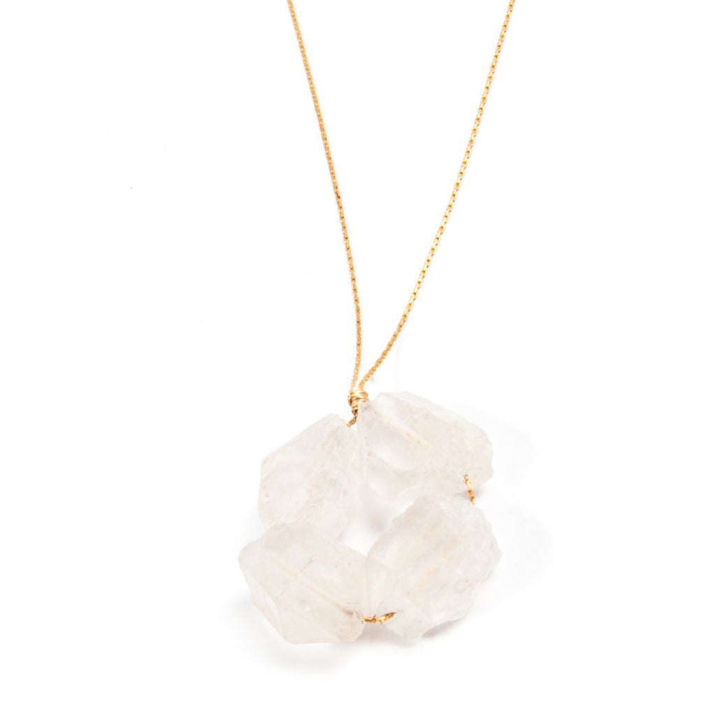 Rock Crystal- Block Necklace
