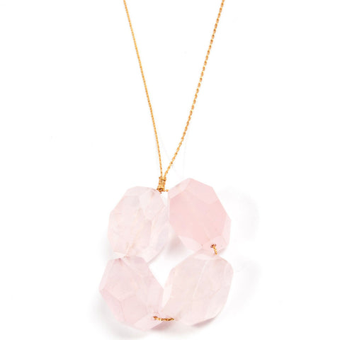 Block Necklace- Rose Quartz
