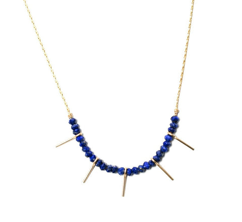 Needle Necklace- Silver Blue Lapis