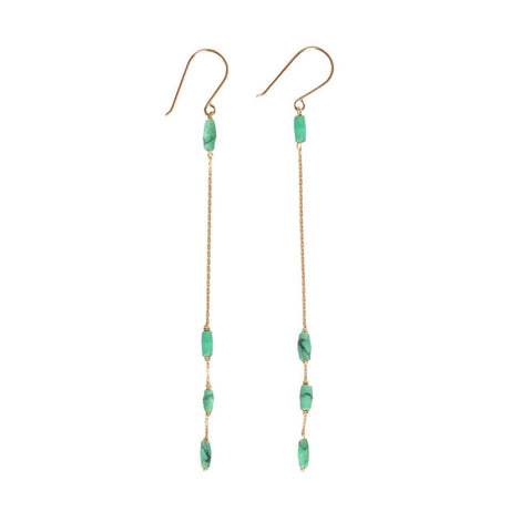 Basket Weave Earring- Lime Turquoise