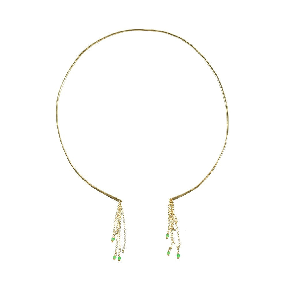 Cascade Collar Necklace- Green Quartz