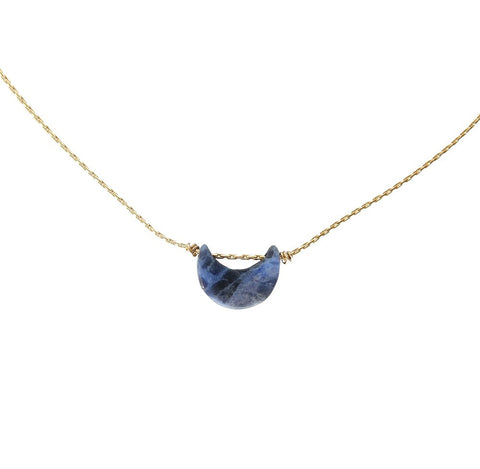 Crescent Necklace- Navy Sodalite