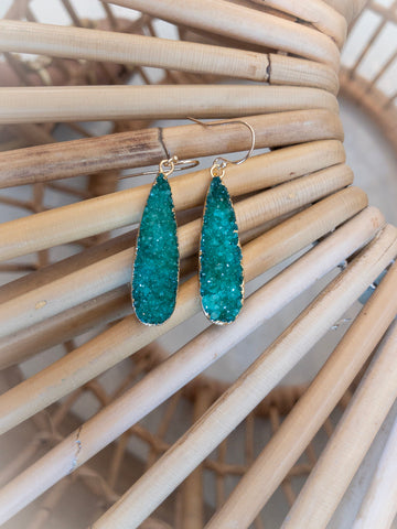 Emerald Green Druzy Teardrop Earring