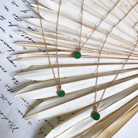 Emerald Mini Drusy Necklace