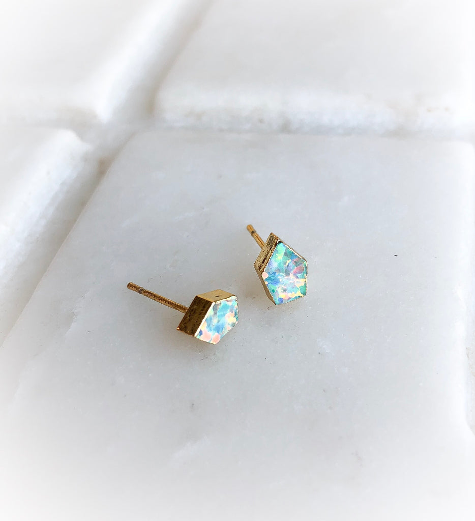 Mini Opal Shield Studs